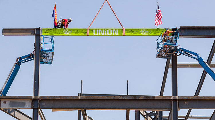 Final beam rises at Lincoln Property, Harvard's Union Building One